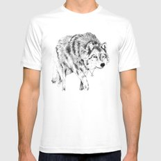Mister Wolf White Mens Fitted Tee SMALL