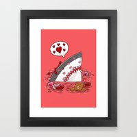 The Valentine's Day Shark Framed Art Print