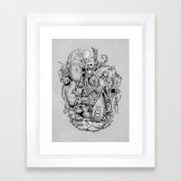 A nightmare in black and white Framed Art Print