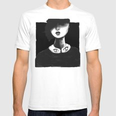 Contemporary Black and White Collar  Mens Fitted Tee SMALL White