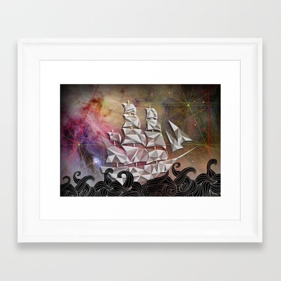 Celestial Ship Framed Art Print