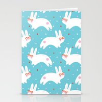 Happy Bunnies with Glasses Stationery Cards