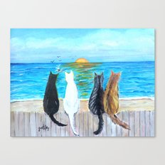 Cat Beach Sunset Canvas Print