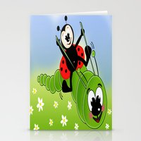 Ladybug And Caterpillar Stationery Cards