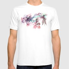 Galaxies White SMALL Mens Fitted Tee