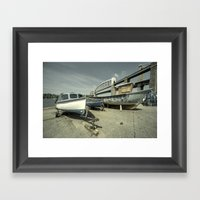 Boats by the the bridge  Framed Art Print
