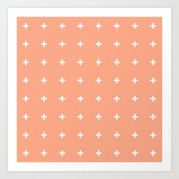 Peach Cross // Peach Plu… Art Print