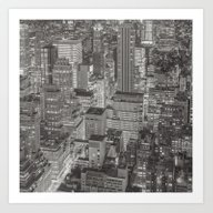 New York 2 Black White Art Print