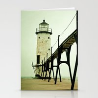 waves Stationery Cards featuring Manistee Light by Olivia Joy StClaire
