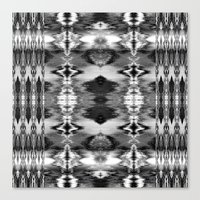 B&W Watercolor Ikat Canvas Print