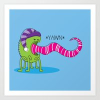 Even Monsters Get Sleepy Art Print