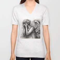 Weeping Angel Watercolor Doctor Who Art Unisex V-Neck