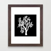 Solo Tree White On Black Framed Art Print