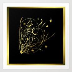 golden floral pattern Art Print