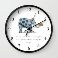 Wall Clock featuring Polka Dot Elephants Serv… by Marc Johns