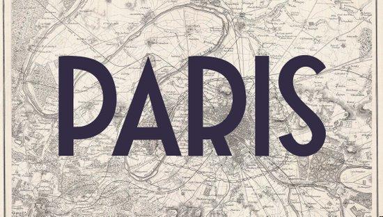 Paris & Map Art Print