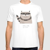 Sneaky Raccoon Mens Fitted Tee White SMALL
