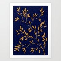 Blue branches Art Print