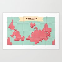Australian World Map Art Print