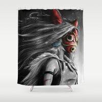 Miyazaki's Mononoke Hime Digital Painting the Wolf Princess Warrior Color Variation Shower Curtain