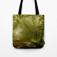 Misty Woodland Lane Tote Bag