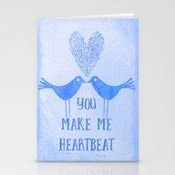 Heartbeat Blue Stationery Cards