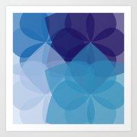 Blue Geometric Flower Art Print