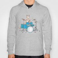 Cat Playing Drums - Blue Hoody
