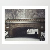 Couple in the Snow in Central Park Art Print
