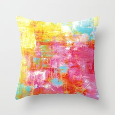 OFF THE GRID 2 Colorful Pink Pastel Neon Abstract Watercolor Acrylic Textural Art Painting Rainbow Throw Pillow