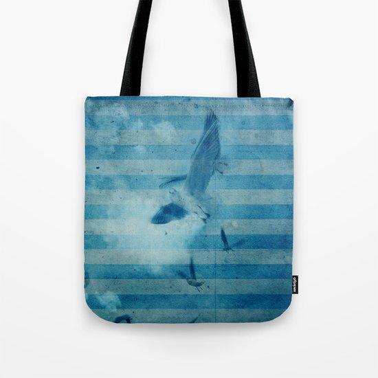 seagull in cyan Tote Bag