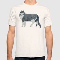 Beaming Cat Mens Fitted Tee Natural SMALL