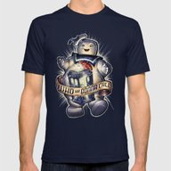 WHO Ya Gonna Call Mens Fitted Tee Navy SMALL