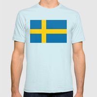 National flag of Sweden Mens Fitted Tee Light Blue SMALL