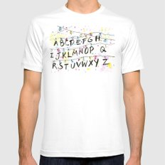 Stranger Things Alphabet Christmas Lights  SMALL Mens Fitted Tee White