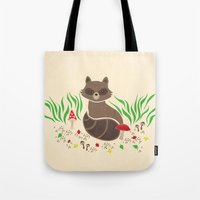 Tote Bag featuring Raccoon by Lynette Sherrard Illustration and Design
