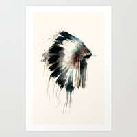 feathers Art Prints featuring Headdress by Amy Hamilton