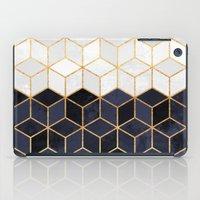 White & Navy Cubes iPad Case