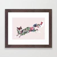 Flower Fox Framed Art Print