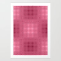 Dark Pink Spotty Pattern Art Print