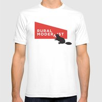 Rural Modernist Beaver Mens Fitted Tee White SMALL