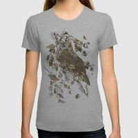 Great Horned Owl Womens Fitted Tee Athletic Grey SMALL