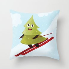 Happy Pine Tree on Ski Throw Pillow