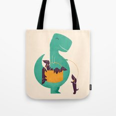 T-Rex and his Basketful of Wiener Dogs Tote Bag