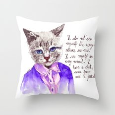 Fashion Mr. Cat Karl Lagerfeld and Chanel Throw Pillow