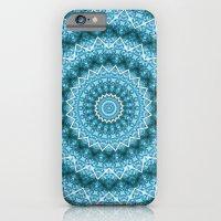 iPhone & iPod Case featuring Light Blue Kaleidoscope / Mandala by pASob