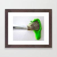 Drip Green Paint Framed Art Print