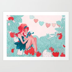 Strawberry girl Art Print