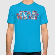 Space Toons In Color Mens Fitted Tee Teal SMALL