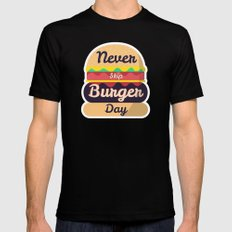 Never Skip Burger Day Black Mens Fitted Tee SMALL